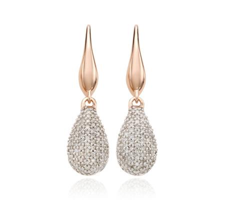 Rose Gold Stellar Drop Earrings Diamond