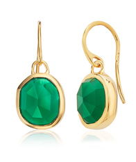 Monica Vinader Gold Siren Wire Earrings featuring a Green Onyx gemstone..