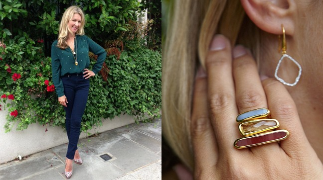 Fiona Rubie shows us how to take a denim look from day to night by mixing in diamonds and colour gemstone stacking rings.