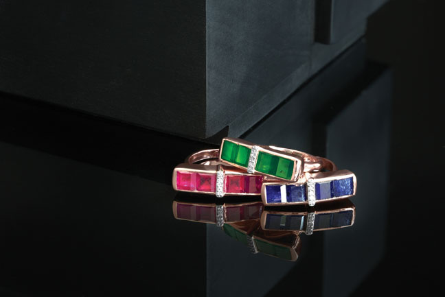 Ruby, emerald, blue sapphire rings