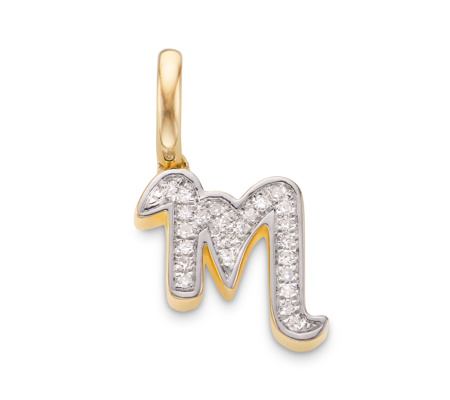 Sterling Silver Diamond Alphabet Pendant U Diamond Monica Vinader 7LNEC7Di