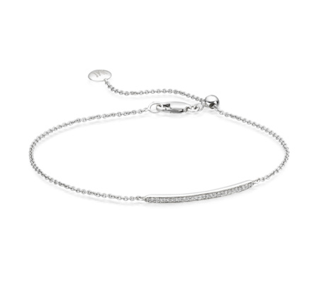 Skinny Short Bar Bracelet In Sterling Silver With Diamond Jewellery By Monica Vinader