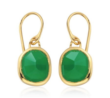 Siren Wire Earrings In 18ct Gold Vermeil On Sterling Silver With Green Onyx Jewellery By Monica Vinader