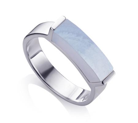 Sterling Silver Linear Stone Ring Blue Lace Agate Monica Vinader 5momSRde
