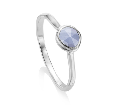 Sterling Silver Siren Stacking Ring Blue Lace Agate Monica Vinader oxx3jiuhP