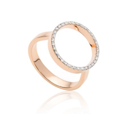 Naida Circle Diamond Open Ring, Rose Gold Vermeil on Silver Monica Vinader