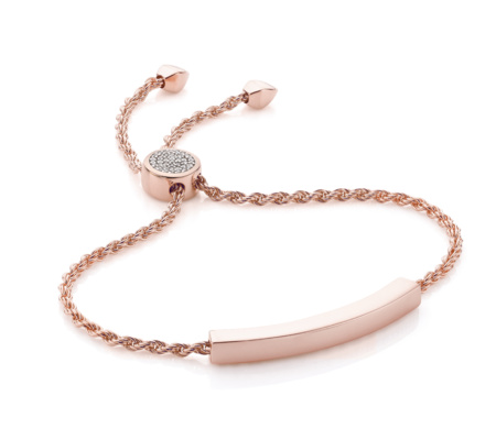 Linear Diamond Toggle Chain Bracelet, Rose Gold Vermeil on Silver Monica Vinader