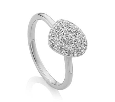 Princess Kylie Clear Cubic Zirconia Swirl Tails Design Ring Rhodium Plated Sterling Silver