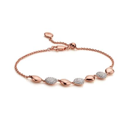 Rose Gold Nura Teardrop Mix Link Bracelet Diamond Monica Vinader GOtKwTX