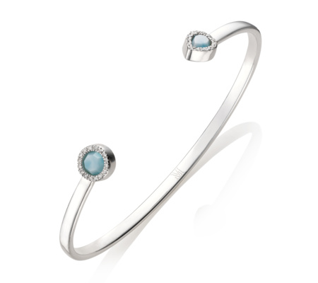 Sterling Silver Naida Thin Open Cuff Diamond Monica Vinader 1wjcT