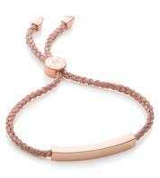Rose Gold Vermeil Linear Friendship Bracelet - Rose Gold Metallica Cord