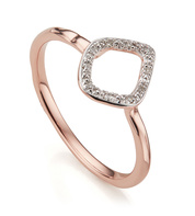 Rose Gold Vermeil Riva Mini Kite Stacking Ring - Diamond - Monica Vinader