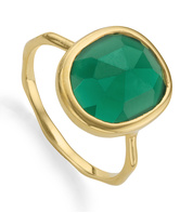 Gold Vermeil Siren Medium Stacking Ring - Green Onyx