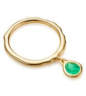 Gold Vermeil Siren Charm Ring - Green Onyx - Monica Vinader