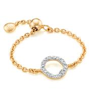 Gold Vermeil Riva Mini Circle Adjustable Friendship Diamond Ring - Diamond - Monica Vinader