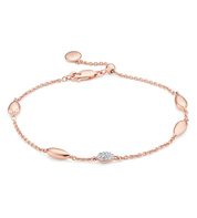 Rose Gold Vermeil Nura Teardrop Mixed Station Diamond Bracelet  - Diamond - Monica Vinader
