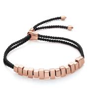 Rose Gold Vermeil Linear Ingot Bracelet - Black - Monica Vinader