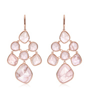 Rose Gold Vermeil Siren Chandelier Earrings - Rose Quartz - Monica Vinader