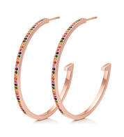 Rose Gold Vermeil Skinny Sapphire Large Hoop Earrings - Mix - Monica Vinader
