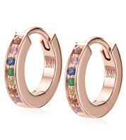 Rose Gold Vermeil Skinny Sapphire Huggie Earrings - Mix - Monica Vinader