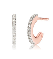 Rose Gold Vermeil Fiji Small Skinny Hoop Diamond Earrings - Diamond - Monica Vinader