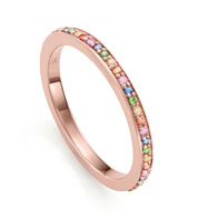 Rose Gold Vermeil Skinny Sapphire Eternity Ring - Mix - Monica Vinader