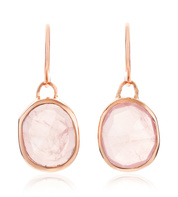 Rose Gold Vermeil Siren Wire Earrings - Rose Quartz - Monica Vinader