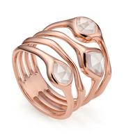 Rose Gold Vermeil Siren Cluster Cocktail Ring - Rose Quartz - Monica Vinader