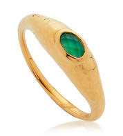 Gold Vermeil Deia Gemstone Ring - Green Onyx - Monica Vinader