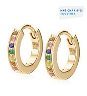 Gold Vermeil NHS Skinny Sapphire Huggie Earrings - Sapphire Mix - Monica Vinader