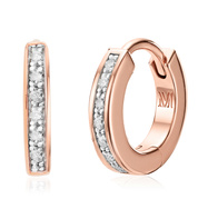 Rose Gold Vermeil Skinny Diamond Huggie Earrings - Diamond - Monica Vinader