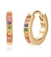 Gold Vermeil Skinny Sapphire Huggie Earrings - Sapphire Mix - Monica Vinader