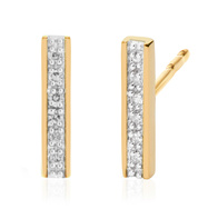 Gold Vermeil Signature Skinny Diamond Earrings - Diamond - Monica Vinader