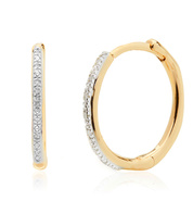 Gold Vermeil Riva Wave Medium Hoop Diamond Earrings - Diamond - Monica Vinader