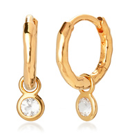 Gold Vermeil Mini Gem Huggie Earrings - White Topaz - Monica Vinader