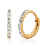 Gold Vermeil Riva Mini Diamond Huggie Earrings - Diamond - Monica Vinader