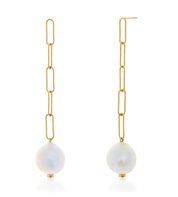 Gold Vermeil Baroque Pearl Chain Earrings - Pearl - Monica Vinader