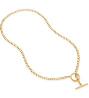 Gold Vermeil Groove T Bar Necklace - Monica Vinader