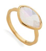 Gold Vermeil Petal Ring - Moonstone - Monica Vinader