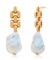 Gold Vermeil Doina Baroque Pearl Earrings - Pearl - Monica Vinader