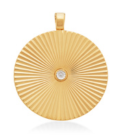Gold Vermeil Disco Round Diamond Pendant - Monica Vinader