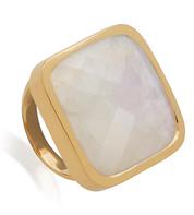 Gold Vermeil Square Facet Cocktail Ring - Moonstone - Monica Vinader