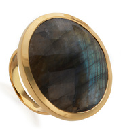 Gold Vermeil Round Facet Cocktail Ring - Labradorite - Monica Vinader