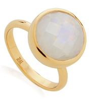 Gold Vermeil Medina Round Ring - Moonstone - Monica Vinader