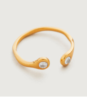 Gold Vermeil Mini Gem Open Ring - White Topaz - Monica Vinader