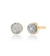 Gold Vermeil Fiji Tiny Button Diamond Stud Earrings - Diamond - Monica Vinader