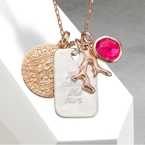 Create your own personalised necklace monica vinader nura large reef pendant 18ct rose gold vermeil aloadofball Gallery