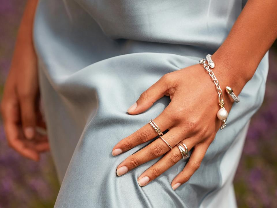 eternity rings can be elegant next to other jewellery