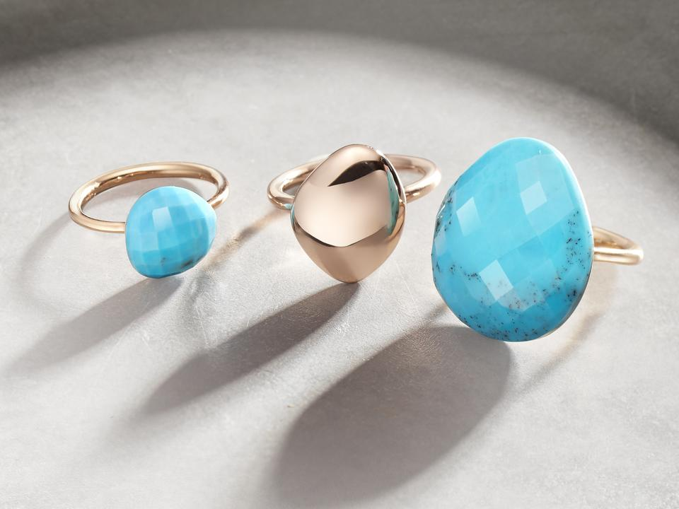 Rose Gold Nura Large Pebble Ring Turquoise Monica Vinader