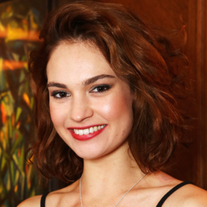 Lily James wearing Alphabet Riva and Siren collections